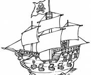 Coloring pages A ship carrying the pirate flag
