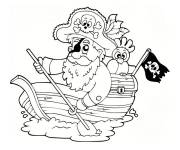 Coloring pages Pirate on a small ship