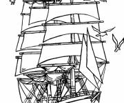 Coloring pages Pirate ship floats on the sea