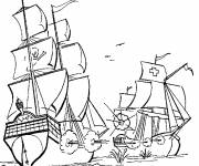 Coloring pages Pirate ship in battle