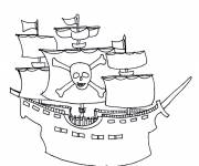 Coloring pages Pirate ship in pencil