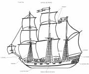 Coloring pages Stylized Pirate Ship
