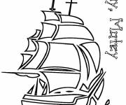 Coloring pages Vector Pirate Ship to print