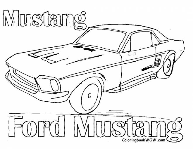 Free coloring and drawings old Ford Mustang Coloring page