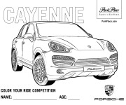 Free coloring and drawings Porsche Cayenne Coloring page