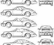 Coloring pages Porsche Cayman from different angles