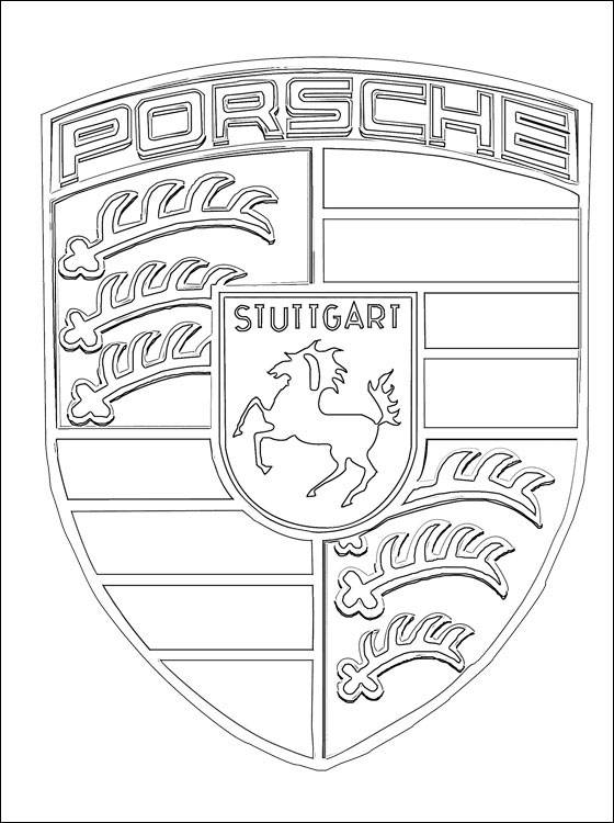 Free coloring and drawings Porsche logo Coloring page