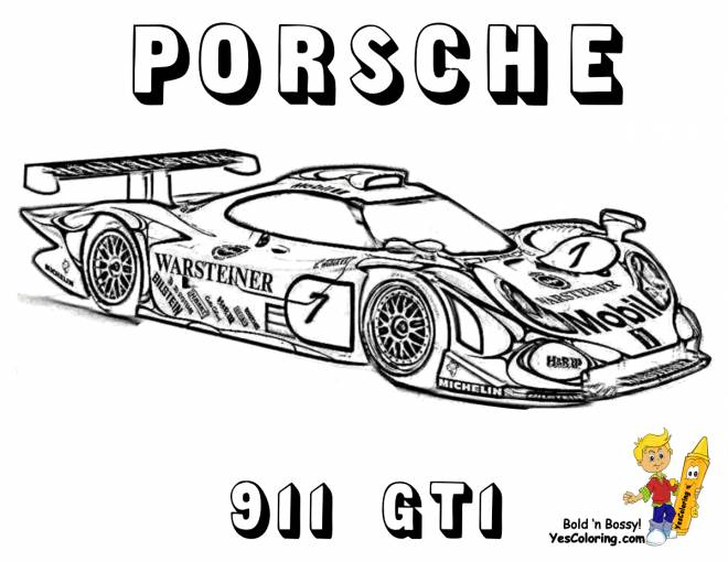 Free coloring and drawings Porsche Porsche 991 GT1 Coloring page