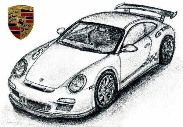 Free coloring and drawings Porsche sport in pencil Coloring page