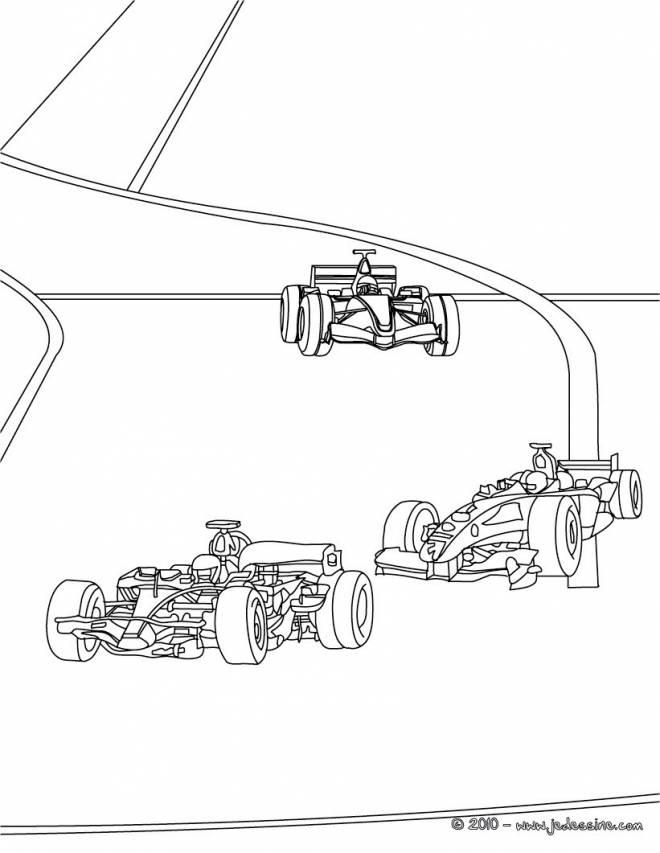 Free coloring and drawings An Illustration of Cars in Race Coloring page
