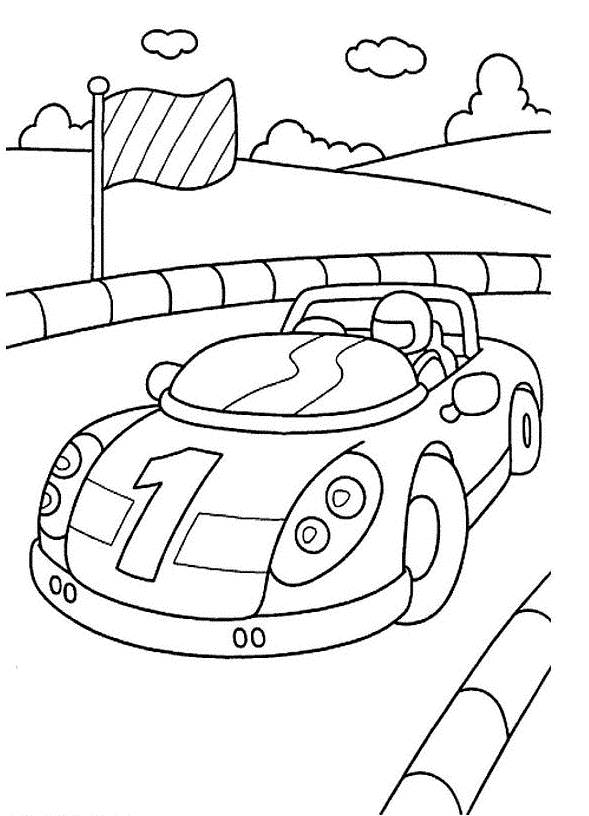Free coloring and drawings Car on Race Course Coloring page