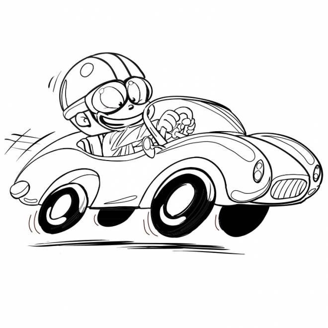 Free coloring and drawings Child drives his Race Car Coloring page