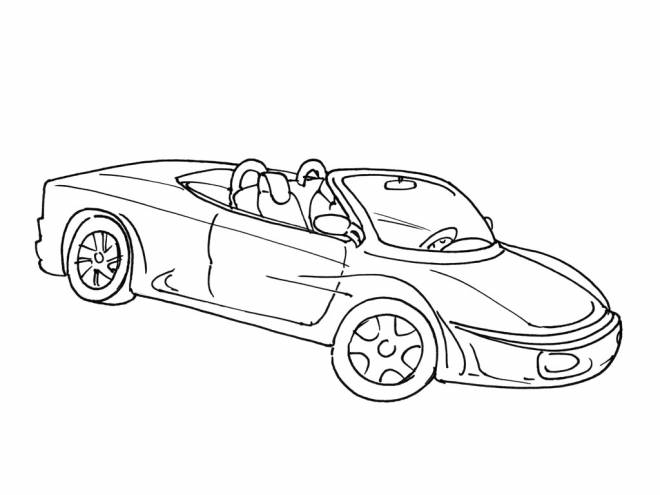 Free coloring and drawings Convertible Race Car Coloring page