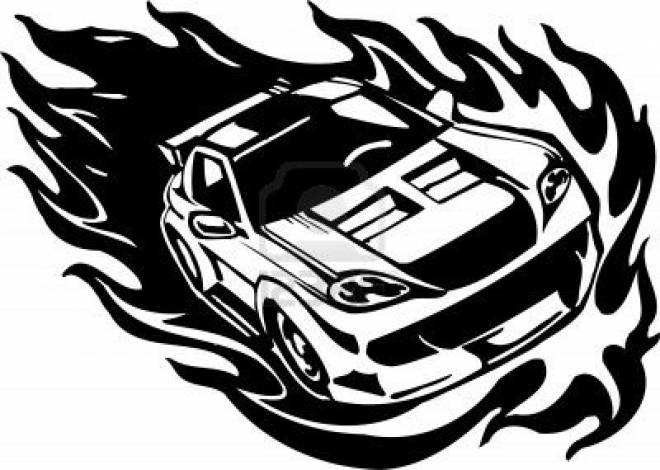 Free coloring and drawings Flaming Race Car Coloring page