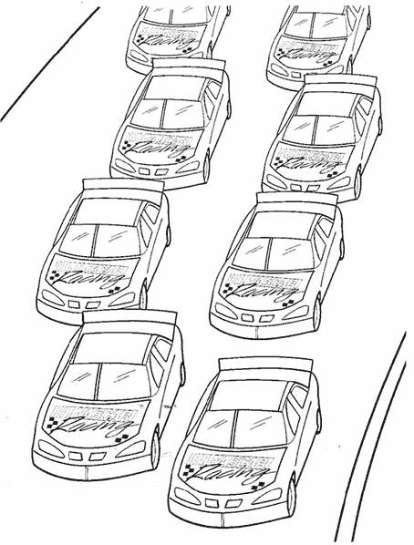 Free coloring and drawings Nascar Race Cars at the start Coloring page