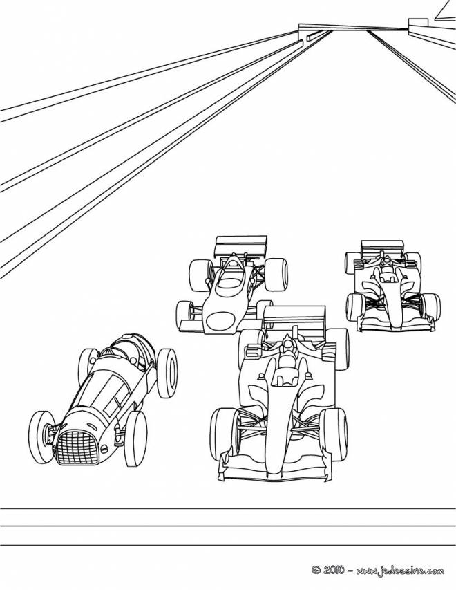 Free coloring and drawings Race Cars of different types Coloring page