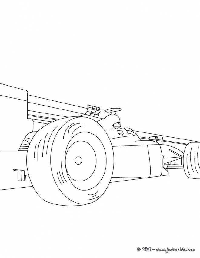 Free coloring and drawings Stylized Formula 1 Race Car Coloring page