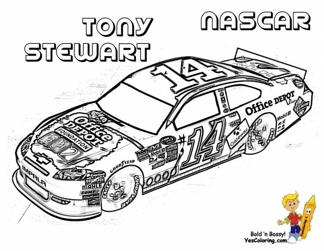 Free coloring and drawings Tony Stewart's Nascar Race Car Coloring page