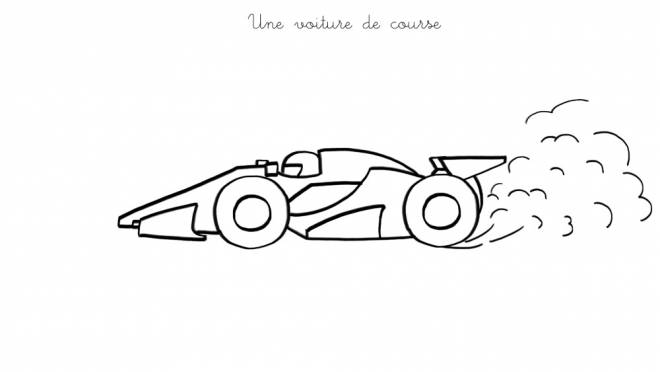 Free coloring and drawings An Easy Race Car Coloring page