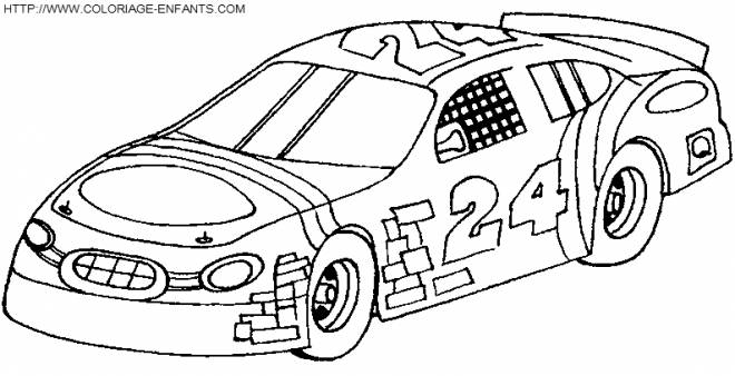 Free coloring and drawings Decorated racing cars Coloring page