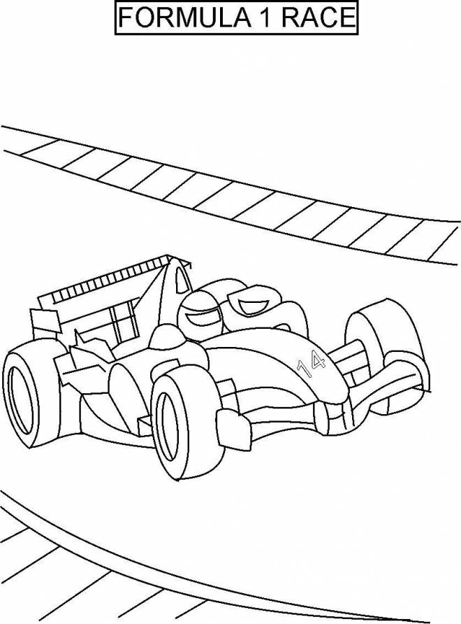 Free coloring and drawings Formula 1 Car in Race Coloring page