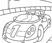Coloring pages Race car on the course