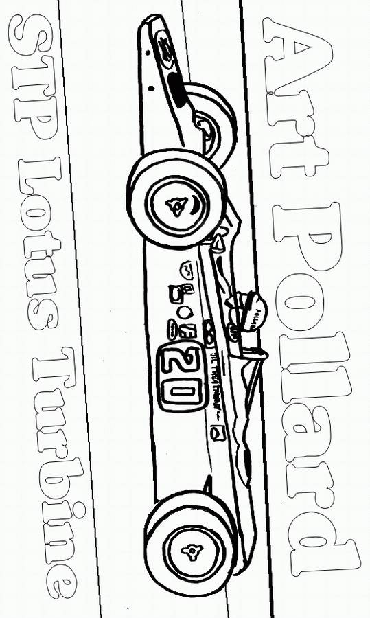 Free coloring and drawings Stylized racing car Coloring page