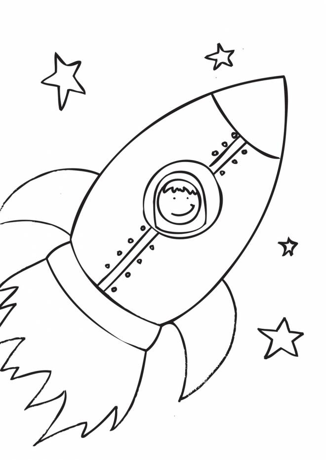 Free coloring and drawings A happy boy in a Rocket Coloring page
