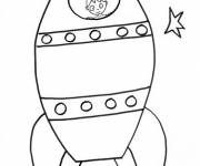 Free coloring and drawings Child in a Space Rocket Coloring page