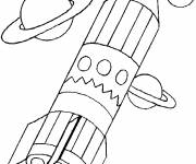 Free coloring and drawings Pencil shaped rocket Coloring page
