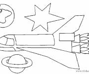 Coloring pages Rocket and planets