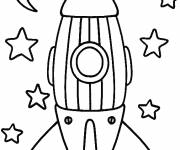 Free coloring and drawings Rocket and Stars Coloring page