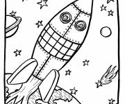 Coloring pages Space rocket in the universe