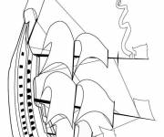 Coloring pages A beautiful sailing boat