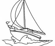 Coloring pages A color sailing boat