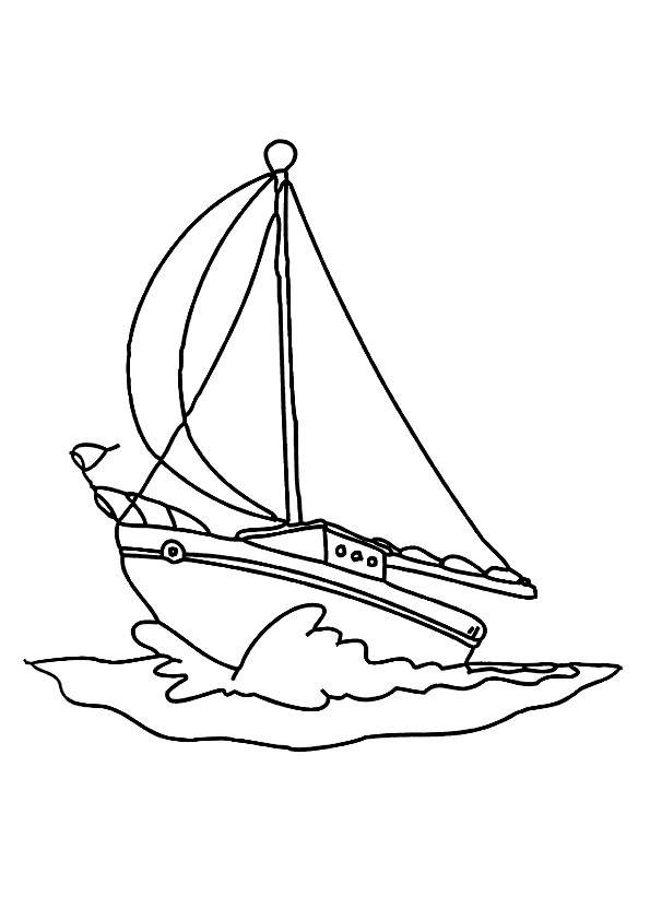 Free coloring and drawings A color sailing boat Coloring page