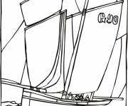 Coloring pages A Sailboat in black
