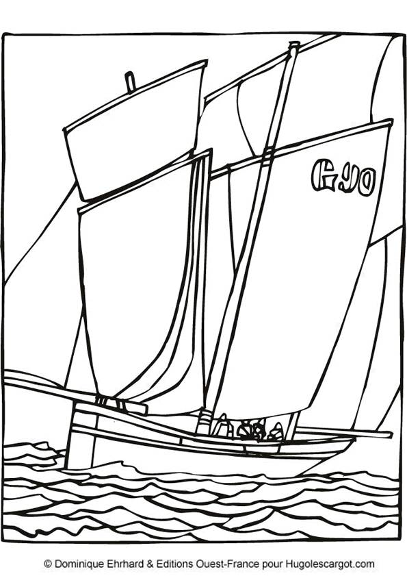 Free coloring and drawings A Sailboat in black Coloring page