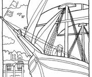 Coloring pages A sailor on an old sailboat