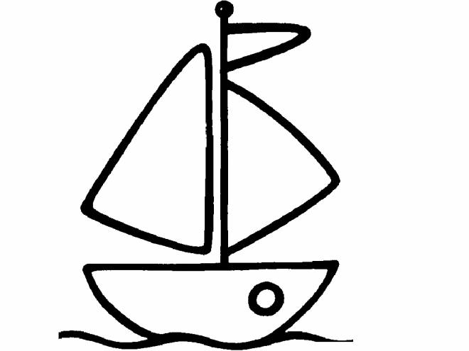 Free coloring and drawings A tiny color boat Coloring page