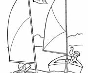 Coloring pages Child having fun with their Sailboats