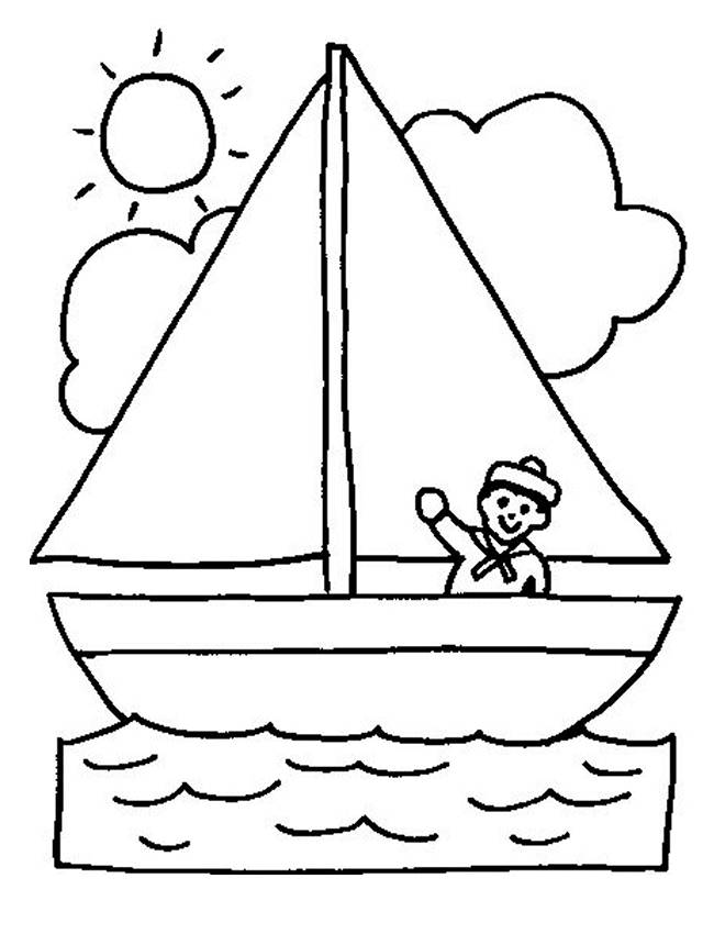 Free coloring and drawings Children's boat Coloring page