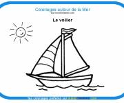Free coloring and drawings Colored sailboat Coloring page
