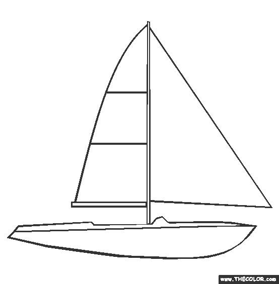 Free coloring and drawings Easy boat Coloring page