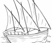 Coloring pages Easy merchant sailboat