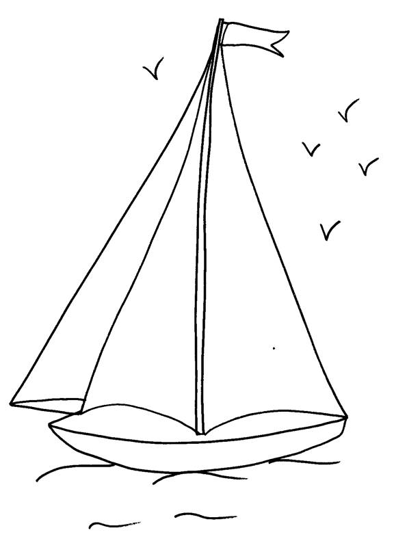 Free coloring and drawings Easy sailboat Coloring page