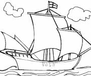 Free coloring and drawings English boat in the sea Coloring page