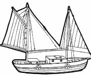 Coloring pages Fishing sailboat in vector