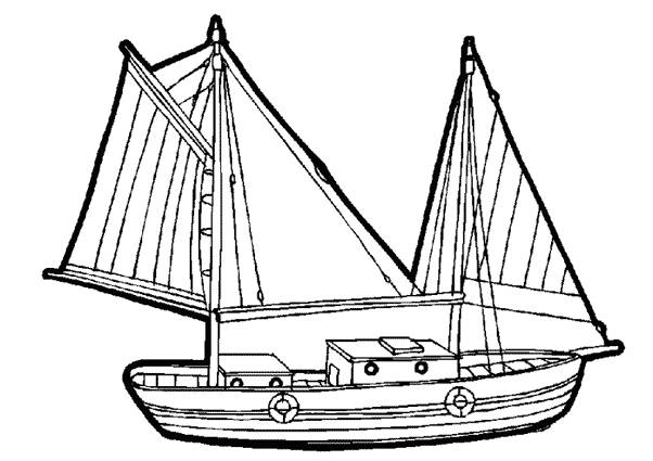 Free coloring and drawings Fishing sailboat in vector Coloring page