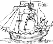 Coloring pages Humorous sailing boat